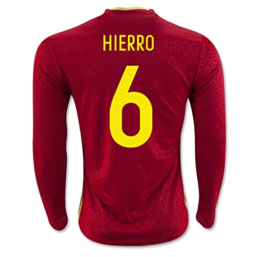 Red #6 Hierro Home Match Long Sleeve Soccer Adult Jersey EURO 2016
