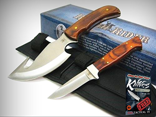 ROUGH RIDER Pakkawood GUTHOOK Caper Full Tang 2 Piece Knife Set + Sheath! 0011367 + free eBook by ProTactical'US 2 Piece Folding Knife Set