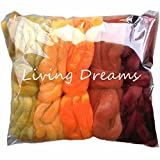 Weaving Spinning Best Deals - SPINNING FIBER Super soft BFL Wool Top Roving drafted for hand spinning with drop spindle or wheel, felting, blending and weaving. Variegated hand dyed mini skeins. 5 Ounce DISCOUNT PACK, Harvest