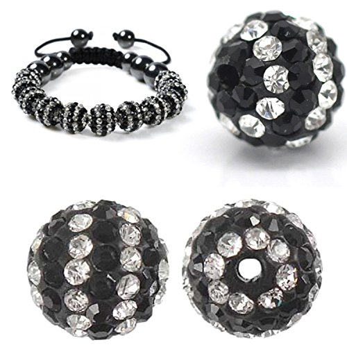 - RUBYCA Stripes Czech Crystal Disco Ball Clay Beads fit Shamballa Jewelry (20pcs, 10mm, Black White)