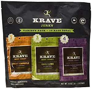 KRAVE Jerky Variety Pack, (Chili Lime, Sweet Chipotle, Black Cherry BBQ), Gluten-Free, 15 Ounce