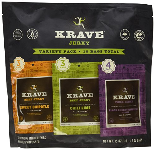 KRAVE Jerky Variety Pack, (Chili Lime, Sweet Chipotle, Black Cherry BBQ), Gluten Free, 15 Ounce (10 Pack)