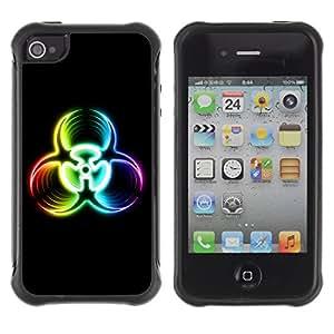 ZAKO Cases / Apple Iphone 4 / 4S / Biohazard Rainbow Sign / Robusto Prueba de choques Caso Billetera cubierta Shell Armor Funda Case Cover Slim Armor