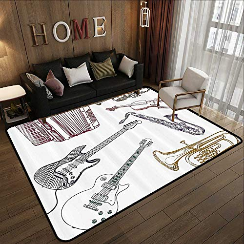- Rubber mat,Music Decor,Musical Instruments Like Cello Guitar Accordion Trumpet Violin Saxophone Print,Multicolor 71