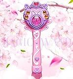 Chusea Child Activity Hammer Toys Automatic Magic Bubble Stick Music Flash Stick Children Electric Bubble Gun Blow Bubble Toy(Pink)
