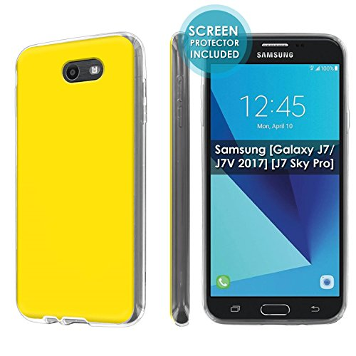 lexi Case For Samsung [Galaxy Halo] [2017] Galaxy J7 [Galaxy Prime/Perx/Sky Pro] [Clear] Total Armor Rubber Gel Phone Case [Screen Protector]- [Yellow] Print Design ()