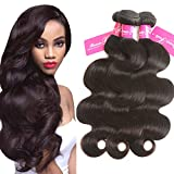 Beauty Youth Hair Brazilian Virgin Hair Body Wave Extensions 3 Bundles 7A Unprocessed Remy Hair Weave Natural Color 95-100g/pc (16 18 20, Natural Color)