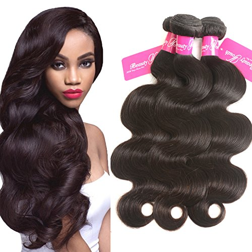 Beauty Youth Hair Brazilian Virgin Hair Body Wave Extensions 3 Bundles 7A Unprocessed Remy Hair Weave Natural Color 95-100g/pc (16 18 20, Natural Color) by Beauty Youth