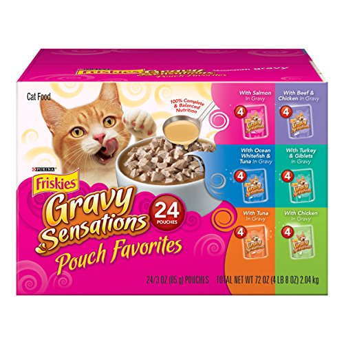 Purina Friskies Gravy Sensations Pouch Favorites Variety Pack Cat Food – (24) 72 oz. Box