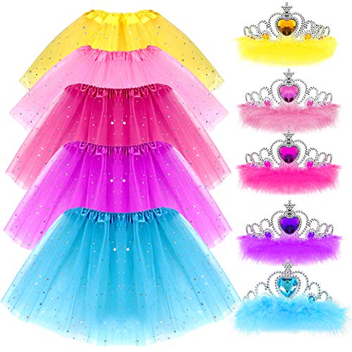 G.C Girls Princess Dress up Clothes with Star Sequins and Princess Crown Tiara Set Ballet Birthday Party for 2-8 Year Old Girl Gifts Tutu Skirt as Party Favors -