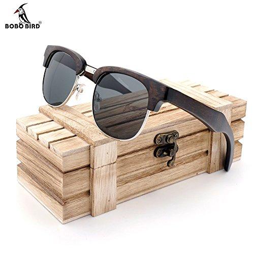 BOBO BIRD S06 Mens Semi-Rimless Wood Polarized Sunglasses (Black, grey)