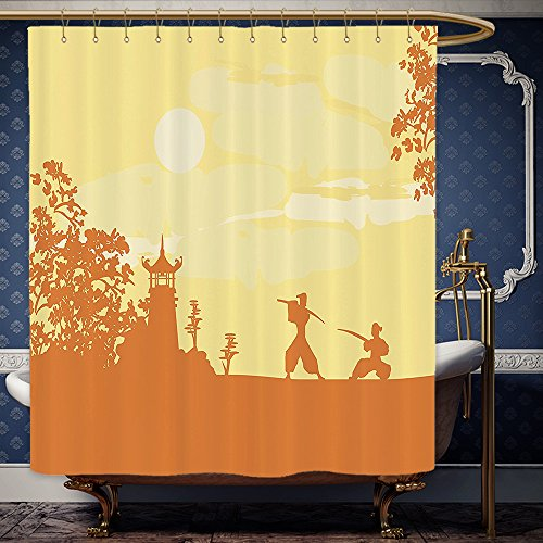 Wanranhome Custom-made shower curtain Japanese Silhouette of Two Ninjas Fighting in front of Temple at Sunset Sakura Trees Pattern Amber and Yellow For Bathroom Decoration 48 x 72 - Ninja It Do Yourself Costume