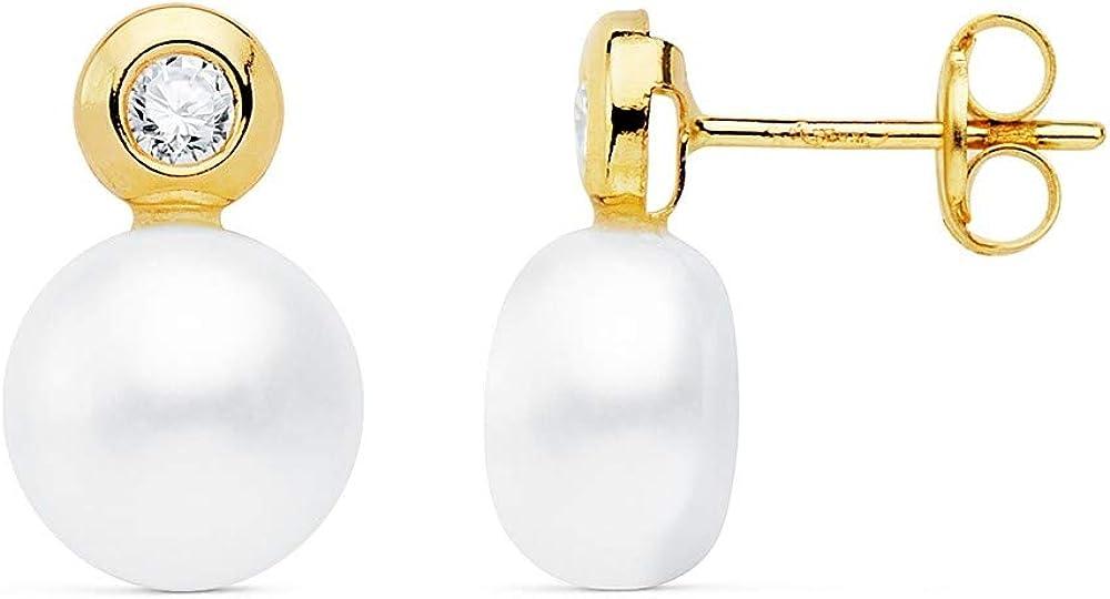 Pendientes oro 18k 13mm. perla cultivada botón 8mm. chatón circonita cierre presión niña
