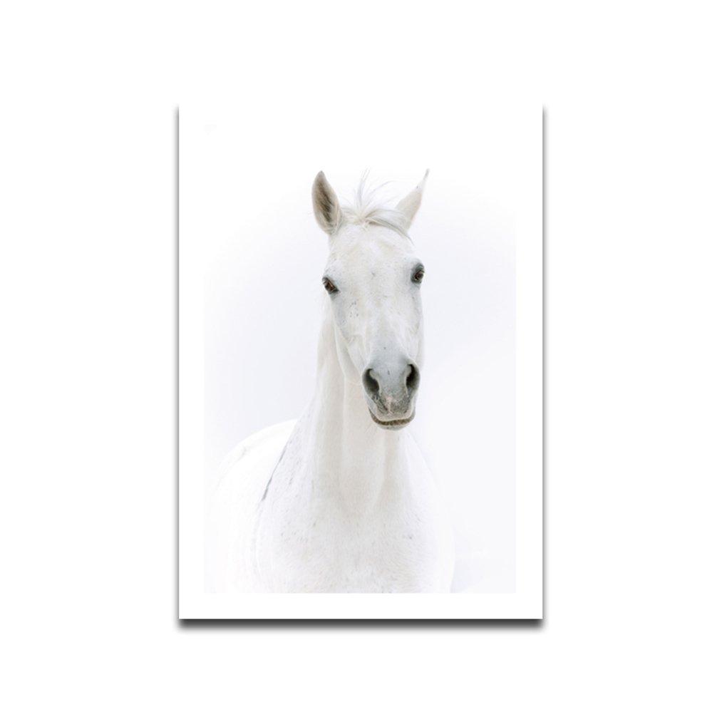 Babysbreath17 Cheval Blanc Peinture à l'huile sur toile Poster HD Imprimer Animaux artistiques Accrochage Unframed Salon huile Dessin 30x45cm
