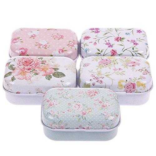 Niome Lovely Flower Iron Tin Storage Bag Gift Mini Jewelry Box Decor Card Pill Case