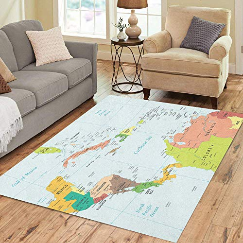 Semtomn Area Rug 5' X 7' Cuba Central America Map Highly Detailed Rico Puerto Panama Home Decor Collection Floor Rugs Carpet for Living Room Bedroom Dining -