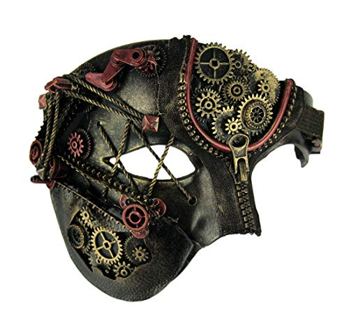 Bauer Pacific Elaborate Steampunk Style Half Face Phantom Adult Costume Mask,Copper,One -