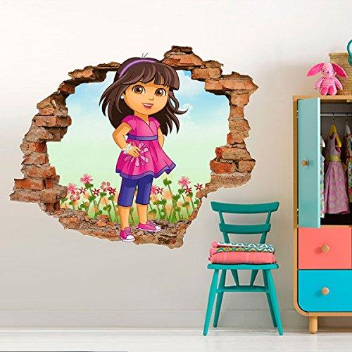 Adesivo de Parede Buraco Falso 3D Dora Aventureira 3 - P 45x55cm