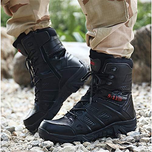 Hombres Montañismo Negro Moda Amortiguamiento Para Zapatos Combate Cuero Cómodo Exteriores Al Militares Desgaste Antideslizante De Resistente Wwjdxz Botas wpR4a