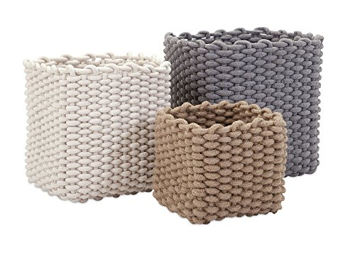 Imax 85886-3 Natural Cotton Rope Baskets - Set of Three, Multi (Set Woven Rope Boxes)
