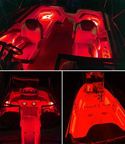 Marine Led Light Strip for Duck Jon Bass Boat Sailboat Kayak Led Flex Lighting for Boat Deck Light Accent Light Courtesy Interior Lights Fishing Night 12v Seapon Pontoon Boat Light 16.4ft 5m Red