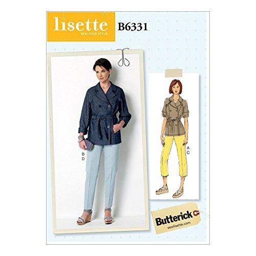 Butterick Ladies Sewing Pattern 6331 Raglan Sleeve Trench Jacket & Tapered Pants