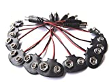 AspenTek 10 PCS 2.1 X 5.5mm Male DC Plug to 9V Battery Clip Snap Accessories for Arduino