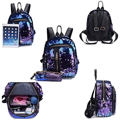 Donalworld Women Sequin Backpack Bling Paillette Glitter School Bag