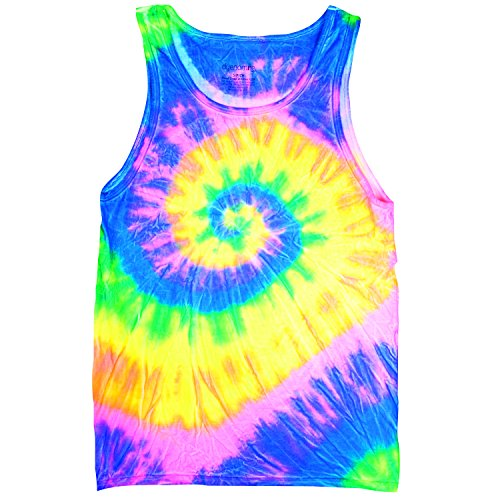 Bright Flourescent Rainbow Swirly Spiral Unisex Adult Tie Dye Tank Top Shirt, Multi-colored, (Bright Tie Dye Tank Top)