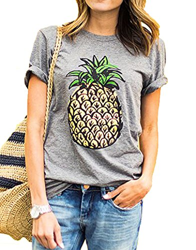 Romastory Women's Cute Print Short Sleeve T-Shirts Juniors Casual Tops Tee Shirts (L, Gray # 2)