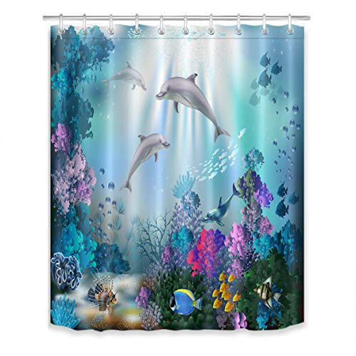 LB Dolphin Shower Curtain for Kids Adults Bathroom Curtain with Hooks Blue Ocean Underwater Fish Coral Reef Decorations 60x72 inch Polyester Fabric ()