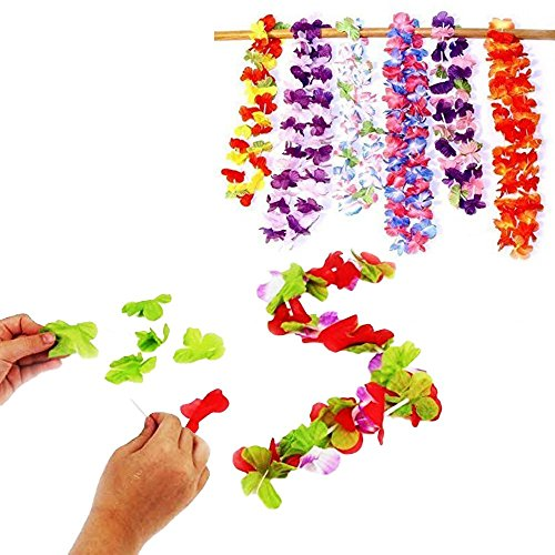 Toy Cubby Party Hawaiian Flower Leis Necklace and Bracelet Make your own Craft Set - 12 pack -