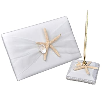 Amazon Com Meiysh Ivory Beach Themed Guest Book And Pen Set With