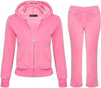 Amazon Com Shelikes Girls Kids Velour Velvet Zip Hoodie Pants Tracksuit Sport Sweat Suit Set Clothing