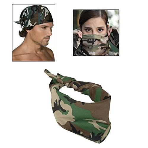 Military Unisex Cotton Army Camo Biker Bandanas Men's Hiphop Headwrap Scarf Ship Headwrap Green Camo