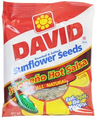 David Jumbo Sunflower Seeds Jalapeno Hot Salsa Flavor, 5.25 oz (Pack of 6)