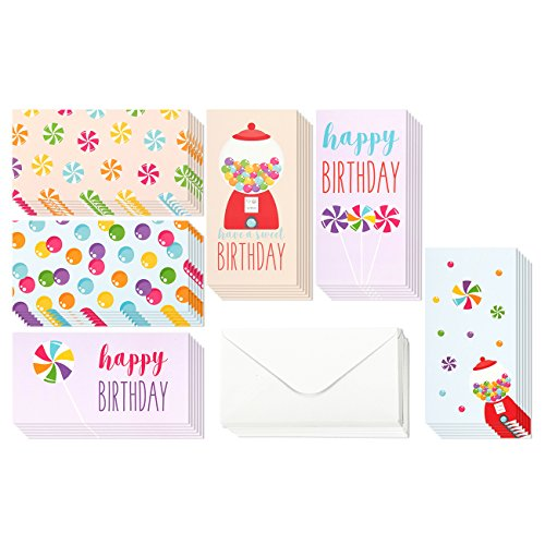 36 Pack Happy Birthday Money Cards Bulk, 6 Colorful Designs Money Cards Birthday Assortment - Envelopes Included 3.5 x 7.25 Inches