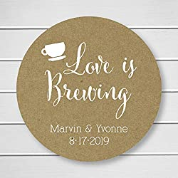 Love is Brewing Tea or Coffee Kraft Personalized Wedding Stickers/Labels (#095-KR-WT)