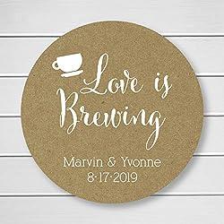 Love is Brewing Tea or Coffee Kraft Personalized Wedding Stickers/Labels (#095-KR-WT)
