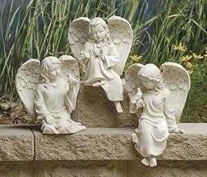 "Set of 3 Inspirational Statuary Cherub Angel and Bird Garden Statues 7.5"""