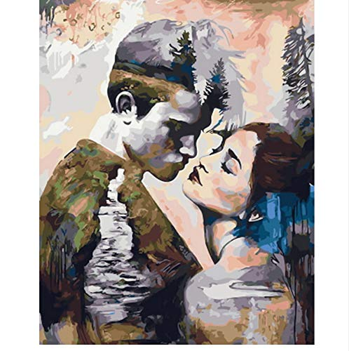 XIGZI Bild ölgemälde by Zahlen wanddekoration DIY malerei auf leinwand für heimtextilien Machen einen Spaziergang 40x50 cm,Mit Holzrahmen,F B07NVC5JWZ |