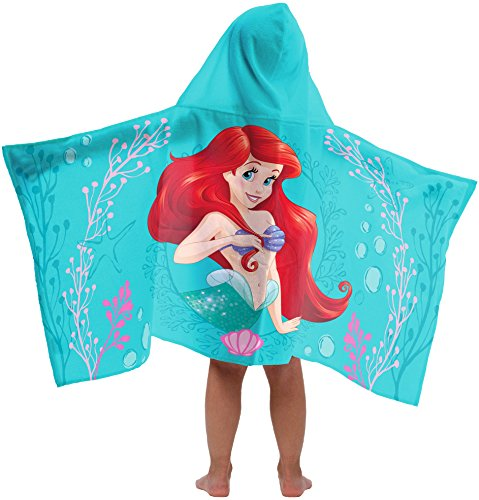 Jay Franco Disney Little Mermaid Kids Bath/Pool/Beach Hooded Towel - Featuring Ariel Super Soft & Absorbent Cotton Towel, Measures 22 inch x 51 inch (Official Disney Product)