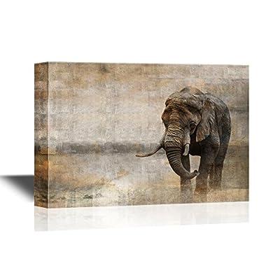Wild Animal African Elephant Male Walking Alone in Desert at Sunset, Original Creation, Astonishing Creative Design