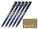 Tombow Fudenosuke Brush Pen, Hard Tip, Blue Body, 5 pack, Sticky Notes Value Set