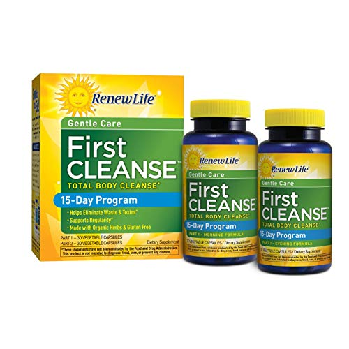 Renew Life Adult Cleanse - First Cleanse Total Body Cleanse, Gentle Care - 2 Part, 15-Day Program - 60 Vegetable Capsules