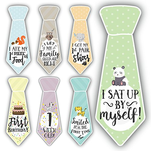 38 Baby Milestone Necktie Onesie Stickers – Best baby shower gift for newborn baby boys & girls – Ties for monthly age markers & special moments – Original Sticker Set from Cozy Hedgehog
