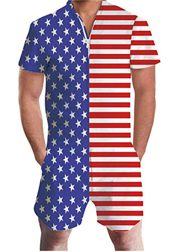 AIDEAONE Men 4th July Romper Summer Fashion Shorts Playsuit One Piece Jumpsuit Patriotic American Flag Male Rompers ()
