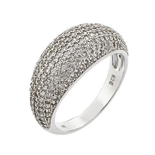 Sterling Silver Pave Dome - Pave Clear Cubic Zirconia Dome Ring Rhodium Plated Sterling Silver Size 8