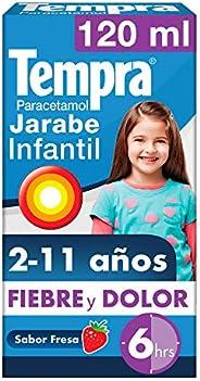 Jarabe Infantil Tempra Fiebre y Dolor Sabor Fresa con Paracetamol, frasco con 120 ml