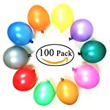 Party Balloons, 100% 12 Inches Rainbow Set (100 Pack), Assorted Colored Balloons Bulk Made With Strong Latex For Helium Or Air Use, Birthday Balloon Arch Supplies